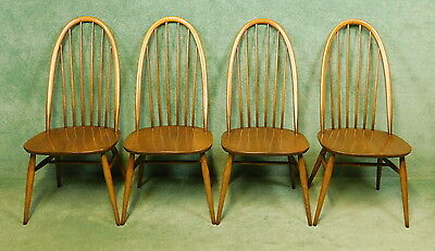 """Set Of Four Ercol High Back Windsor Quaker Dining Chairs """" Golden Dawn """""""