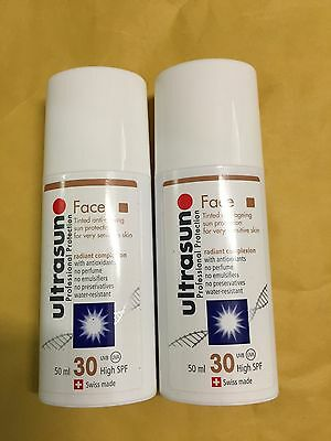 Ultrasun Spf 30 Tinted Face x2 100ml In Total Brand New REDUCED