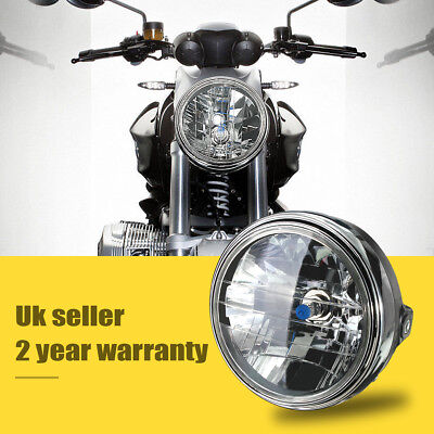 "7"" Motorcycle 12V Round Headlight Halogen H4 Bulb Head Lamp Light Side Mount ABS"