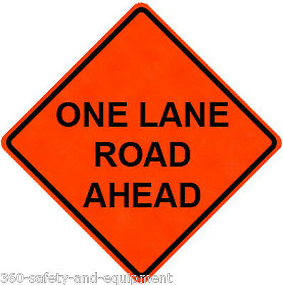"""One Lane Road Ahead 36"""" X 36"""" Vinyl Fluorescent Roll Up Sign With Ribs"""