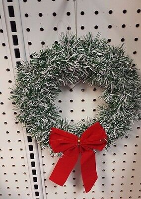 "Christmas Wreath Green and White Tinsel 9 1/2"" diameter with Red Bow and Hanger"