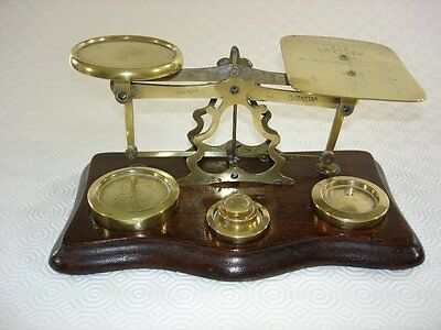 Antique Mahogany and Brass Postal Letter Scales with Weights