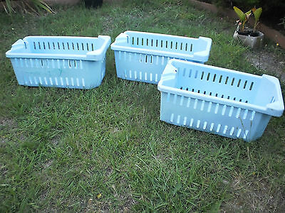 Set Of 3  Blue Stackable Heavy Duty Plastic Storage Crates