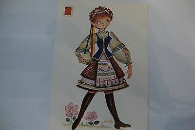 Vintage 1960's postcard Russian girl costume With stamps used