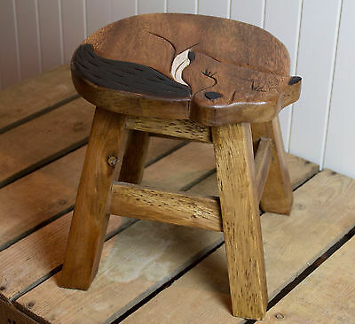 Hand painted & carved animal wooden child's stool~ Cute curled FOX  unique gift
