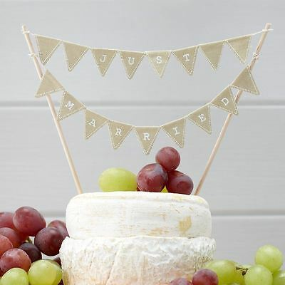 Just Married Wedding Cake Vintage Affair Hessian Bunting Topper by Ginger Ray