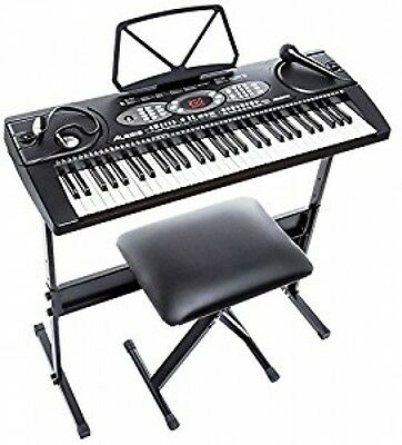 Portable Keyboard Piano With Built-In Speakers Headphones Stand Stool Microphone