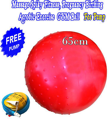 YOGA BALL 65cm GYM MASSAGE SPIKY FITNESS EXERCISE AEROBIC  FREE PUMP