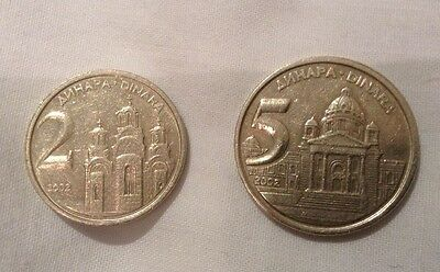 2 & 5 Dinara Coins From Yugoslavia Dated 2002, Good Condition.