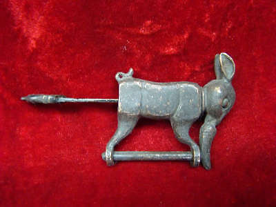 Rare Chinese old style Brass Carved Lov ely rabbit padlock lock and key