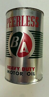 "Vintage ""ba Peerless Motor Oil - Sae 20-20W"" Canadian 1 Imperial Quart Empty Tin"