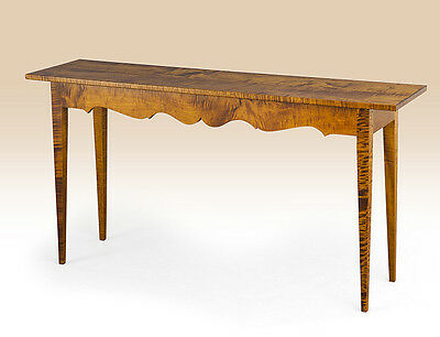 Tiger Maple Wood Hall / Sofa Table - Shaker Style - American Made Furniture