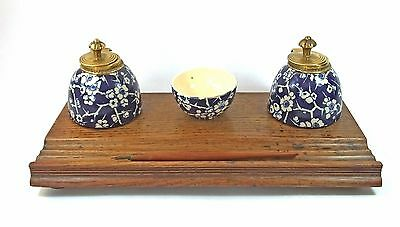 Antique unusual ceramic prunus oak inkstand ink desk stand standish white blue