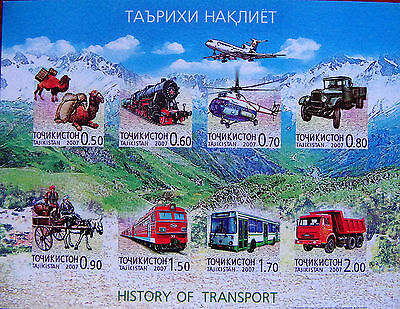 Tajikistan   2007  History of Transport   Cars IMPERFORATED   M/S  MNH