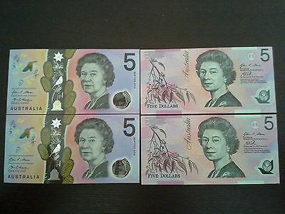 Australia $5 Notes Old and New polymer serial number order