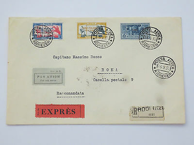 Italy Aegean airmail registered cover with Garibaldi stamps complete set to Rome