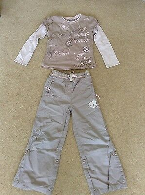 Next Girls Pink and Brown Top and Trousers Outfit Age 4-5