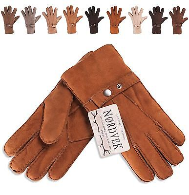 Nordvek Mens 100% Real Sheepskin Leather Gloves with Strap Genuine NV-307-100