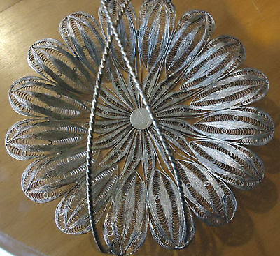 VINTAGE SILVER TONE FILIGREE TRAY with Matching NAPKIN HOLDER Persian Art
