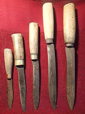 early 1900 LOT of 5 HANDMADE KNIFE KNIVES ANTIQUE PRIMITIVE EUROPE SCANDINAVIA