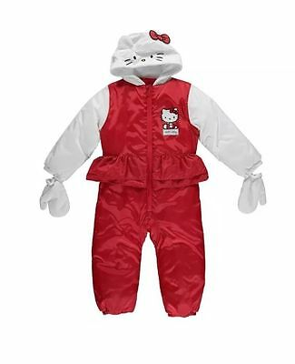 Girls Hello Kitty Hooded Snowsuit Pad Suit All In One Sizes 3 - 4 Yrs B553