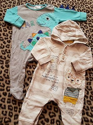 2 x baby boys sleepsuits 3-6 months