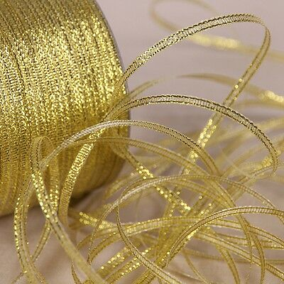 Gold Metallic Glitter Ribbon Party Home Wedding Decoration Gift Wrapping 20Y