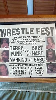 Terry Funk Wrestle Fest poster signed by Sabu and Hayabusa