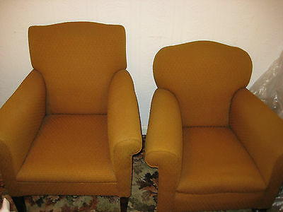 Pair of Club Tub Easy Chairs. ExCond moquette type fabric. Armchairs. MARKET HAR