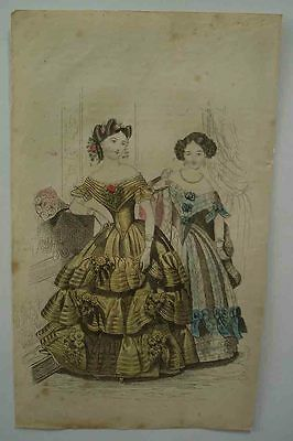 An Early Victorian Original Print of  Ladies Dresses Very Rare.