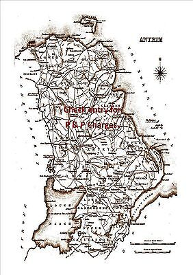 An A4 size, antique map of County Antrim, Ireland, surveyed in the early 1800's.