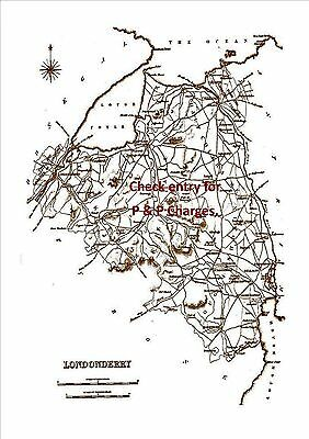 An A4 size,antique map of County Londonderry, Ireland, surveyed in early 1800's.