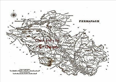 An A4 size, antique map of County Fermanagh, Ireland, surveyed in early 1800's.