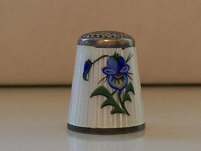 Aksel Holmson (Norway) Sterling Silver and Enamel Thimble