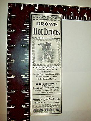 Box, Brown Hot Drops, Andrews Drug, Medicine Cure Pharmacy, Advertising, Antique