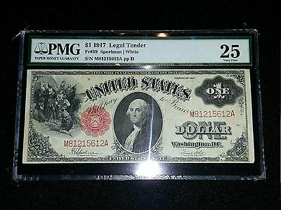 "1917 $1 Legal Tender ""Sawhorse"" PMG Very Fine VF Old Money Antique Currency"