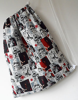 Handmade drawstring bag. School, gym, shopping, storage. Star Wars fabric.