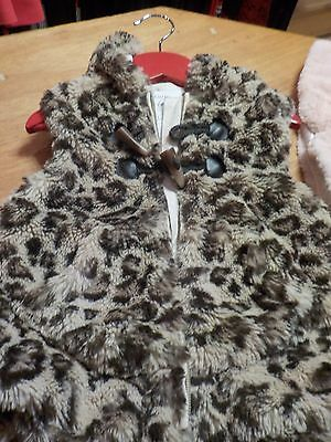 Next Animal print furry gilet with hood  18-23  months