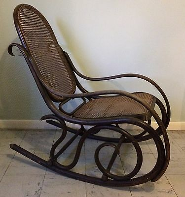 Gorgeous Vintage ROCKING CHAIR BENTWOOD & Bergere SEAT  - Shabby Chic