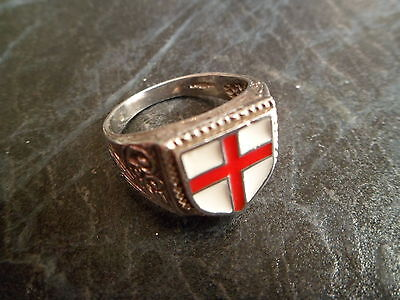 Fully Hallmarked Solid Silver English St George Mens Ring Size U (UK) 10 (USA)