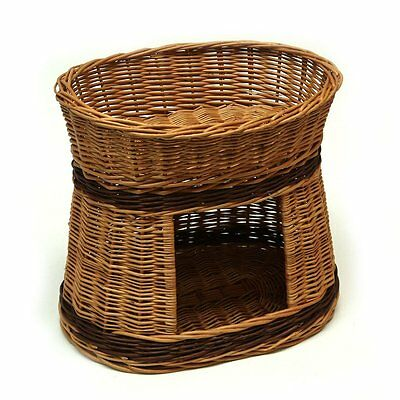 Wicker willow round 2 tier bunk baskets bed for pet cat kitten dog