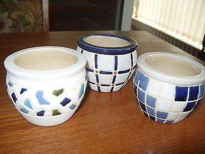 3 Small Pottery Trinket/plant Pots/candle Holders