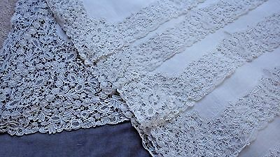 "FAB 13-Piece ROSALINE PERLE Bobbin Lace Set: Long Runner (51"") & 12 Placemats"
