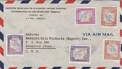 Attractive Bolivian Airmail to USA Commercial Cover
