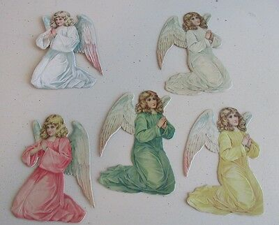 ANTIQUE GERMAN CHRISTMAS DECORATION DIE CUT ANGEL 5pc.