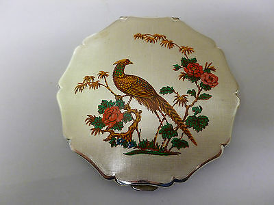 Vintage Stratton Powder Compact Silvertone with Pheasant Design