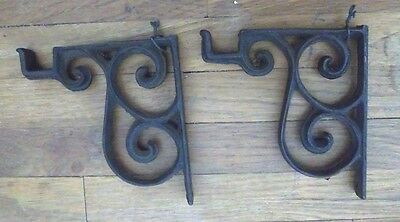 "2 Vintage Rustic Cast Iron Scroll Corner Brackets 5""x4.5""x5/8"" Small Corbels"
