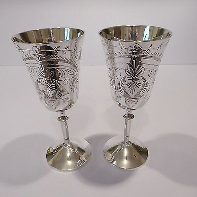 Pair of Silver Plated Wine Goblets, Engraved Floral Decoration