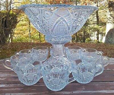 McKEE GLASS - THE CONCORD - PUNCH / EGGNOG BOWL w/ STAND & 10 CUPS