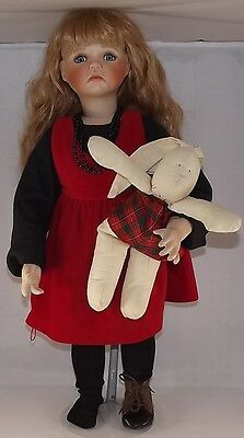 """Kaye Wiggs 24"""" tall porcelain doll 1995 crying with bunny 573/2500"""
